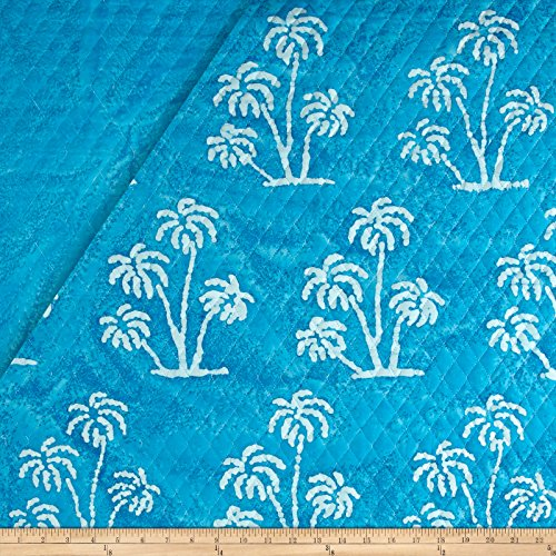 - Textile Creations Double Face Quilted Indian Batik Large Palm Tree Fabric by The Yard, Aqua/White