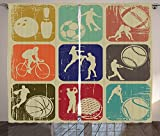 Sports Decor Curtains Assorted Sports Banners in Vintage Grunge Effect Tennis Soccer Bowling Sports Pub Theme Decor Living Room Bedroom Decor 2 Panel Set Multi