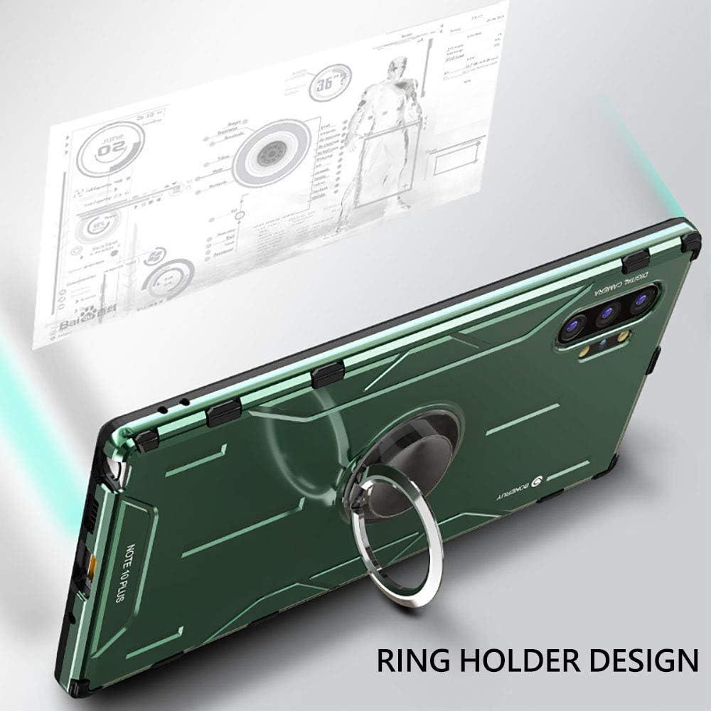 Aleaci/ón de Aluminio Cover con Rotaci/ón de 360 Grados Anillo iman Kickstand para Samsung Note 10+ Jonwelsy Funda para Samsung Galaxy Note 10 Plus Shockproof Flexible Silicona Carcasa Verde