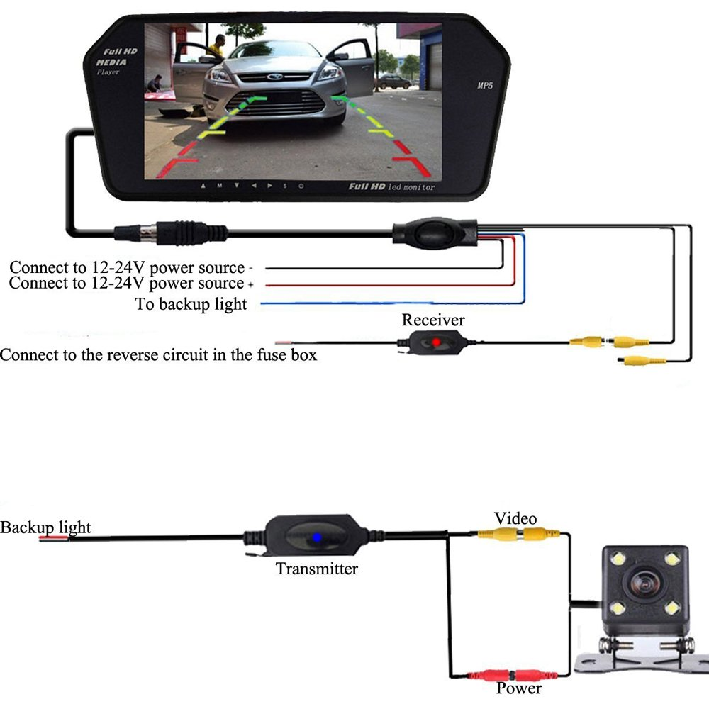 Car stereo bluetooth backup camera 7