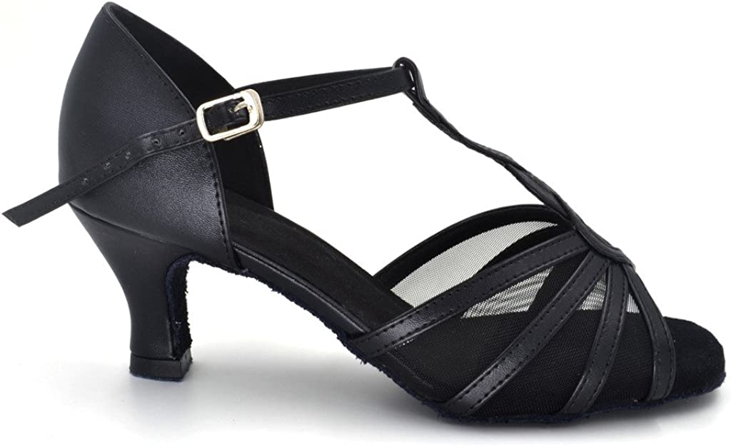 Misu Womens Peep Toe Sandals Latin Salsa Tango Practice Ballroom Dance Shoes with 2.2 Heel