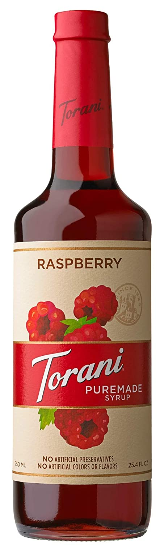 Torani Puremade Syrup, Raspberry Flavor, Glass Bottle, Natural Flavors, 25.4 Fl. Oz., 750 mL
