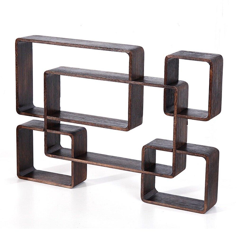 Wall-mounted storage rack / teapot stand / Duobao Court racks / Bogu rack / antique tea storage shelves / Black wall-mounted shelf / (80 10 56cm) by Wall Shelves