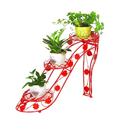 Flower stand Living room Flower stand wrought iron floor stand indoor multi-layer small flower stand pot rack high heel creative flower shelf balcony flower rack ( Color : Red , Size : 256654cm ): Garden & Outdoor