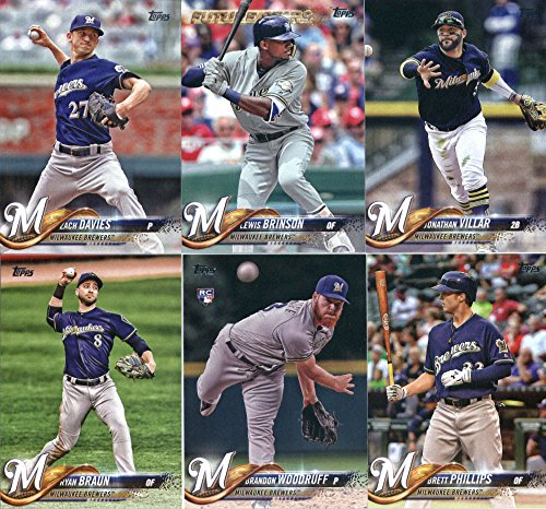 2018 Topps Milwaukee Brewers Team Set of 13 Baseball Cards (Series 1): Chase Anderson(#54), Keon Broxton(#61), Zach Davies(#139), Milwaukee Brewers(#156), Brandon Woodruff(#179), Ryan Braun(#180), Orlando Arcia(#196), Brett Phillips(#202), Corey Knebel(#21