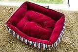 Best Merax Dog Crates - Merax Red Stripe Pet Bed Crystal Velvet Dog Review