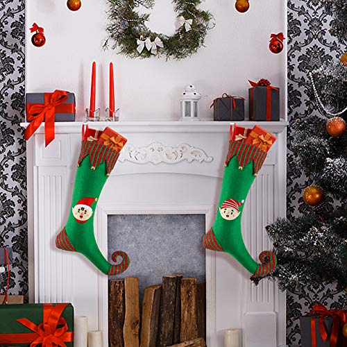 BigOtters Christmas Stockings, 2Pack 18-Inch Extra Long Stocks Xmas Elf Stockings with Craft Bells Decor for Family Holiday Christmas Tree Fireplace Hanging Party Favor