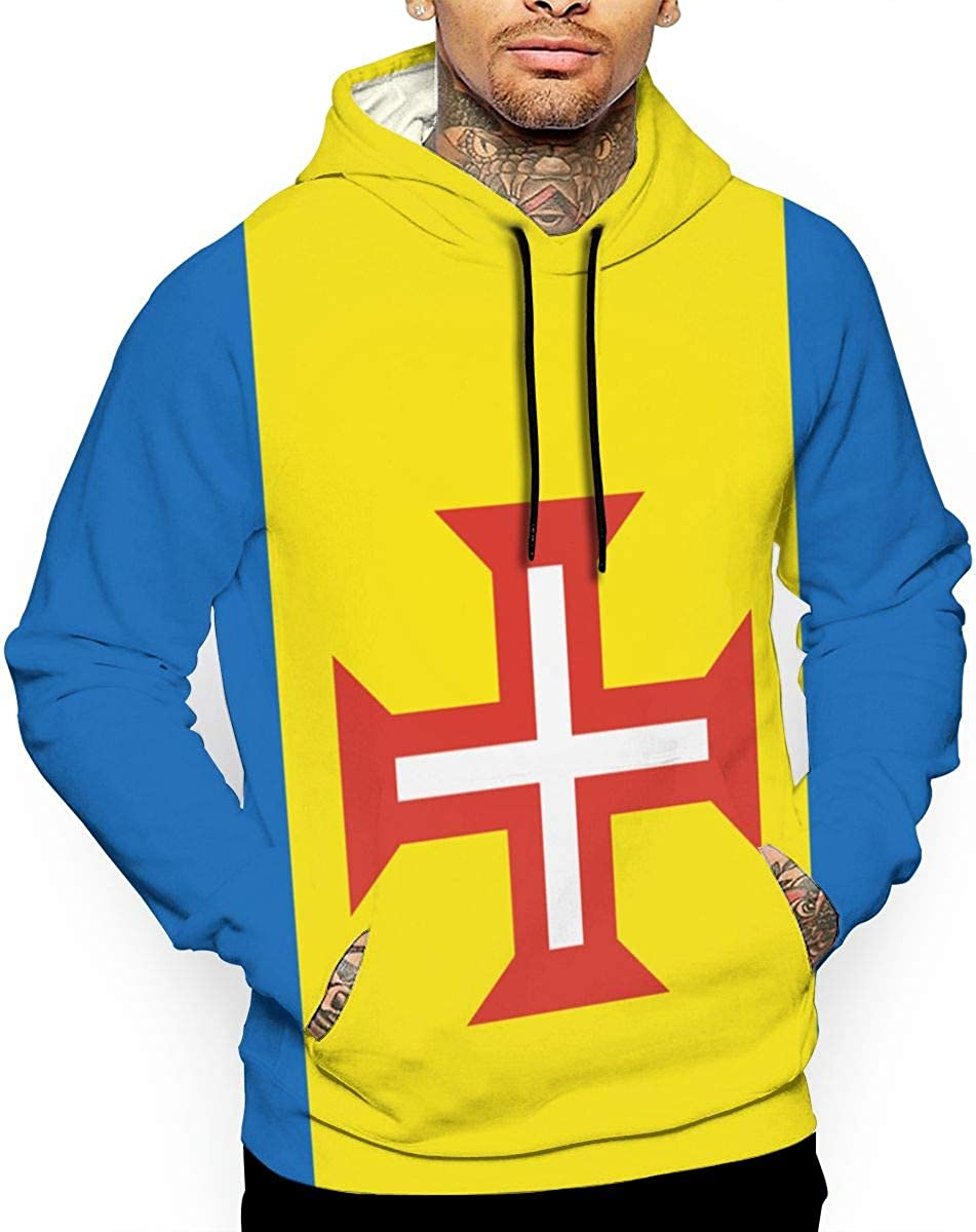 Flag of Madeira T-Shirt Hooded with A Pocket Rope Hat Customization Fashion Novelty 3D Mens