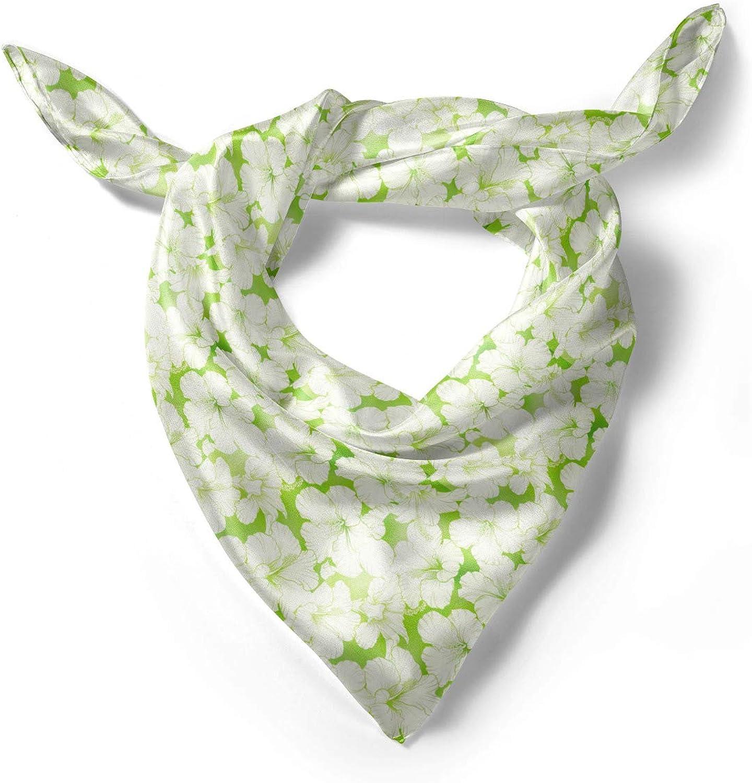 Lunarable Green and White Head Scarf Hair Wrap Hawaii Pattern