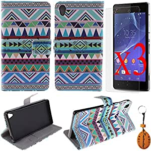 Traitonline® Protective Film + Key Chain + PU Leather Flip Cover with Credit Card ID/Pocket Money Slot for Sony Xperia Z3 Case