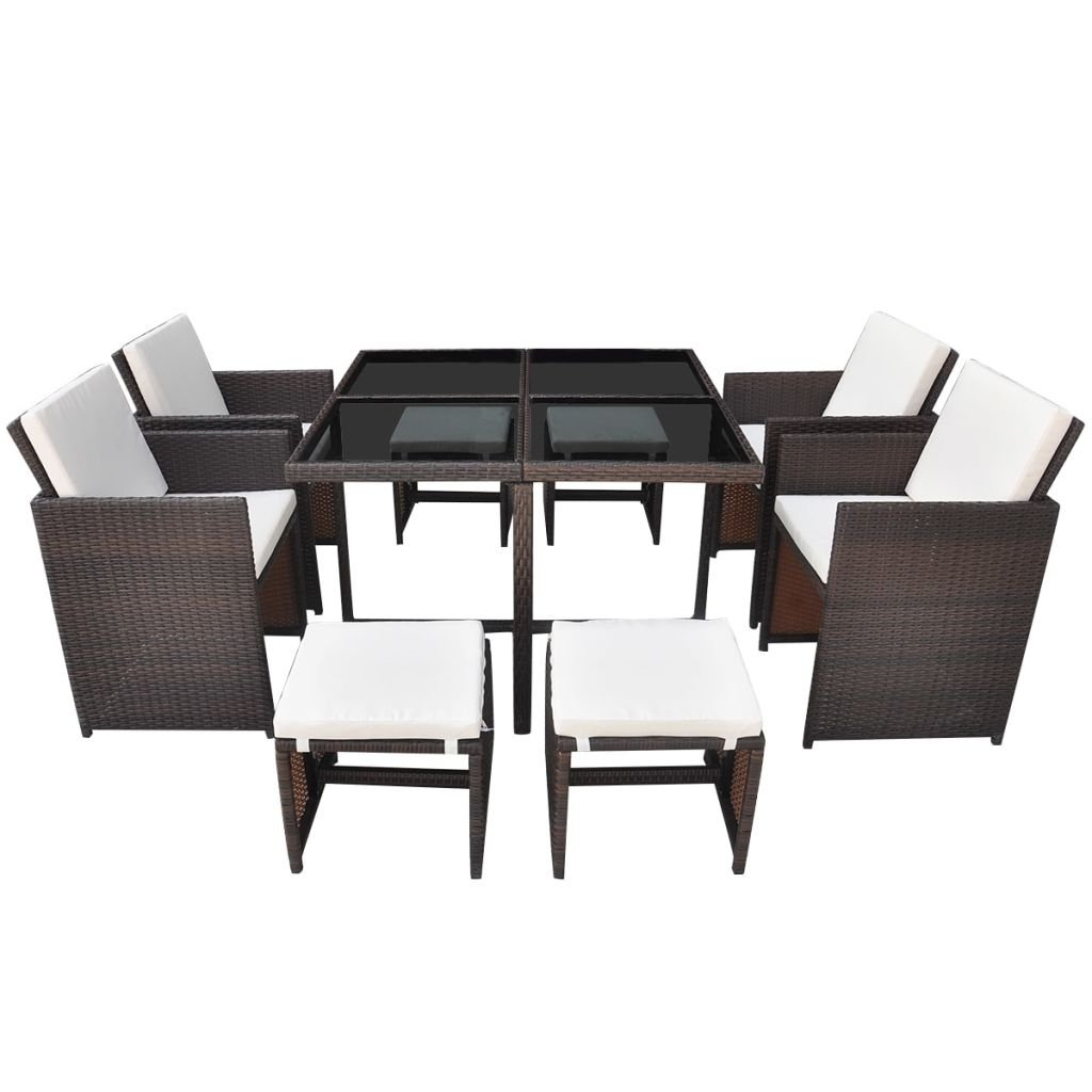 Brown 21 Pcs Dining Set Festnight Outdoor Dining Set Graden Party Picnic Dining Table and Chairs with Removable Cushion for Family Gathering Home Decor Poly Rattan