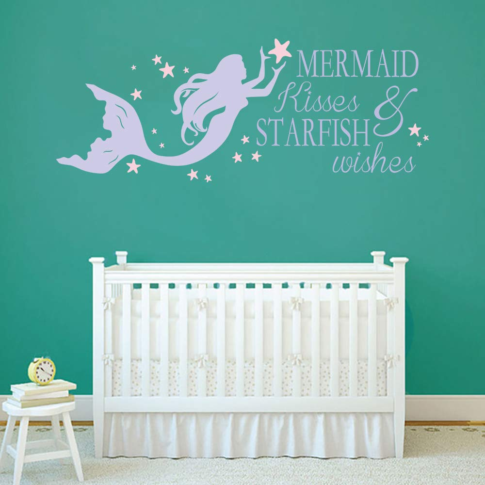 decalmile Purple Mermaid Wall Decals Quotes Mermaid Kisses /& Starfish Wishes Pink Stars Girls Wall Stickers Kids Bedroom Baby Girls Nursery Room Wall Decor