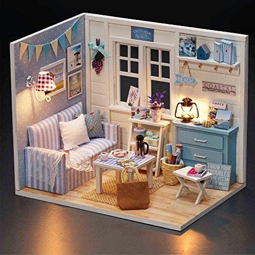 correctstore 1:32 Scale Wooden Handmade Dollhouse Miniature Cute Room Dream House DIY Kit