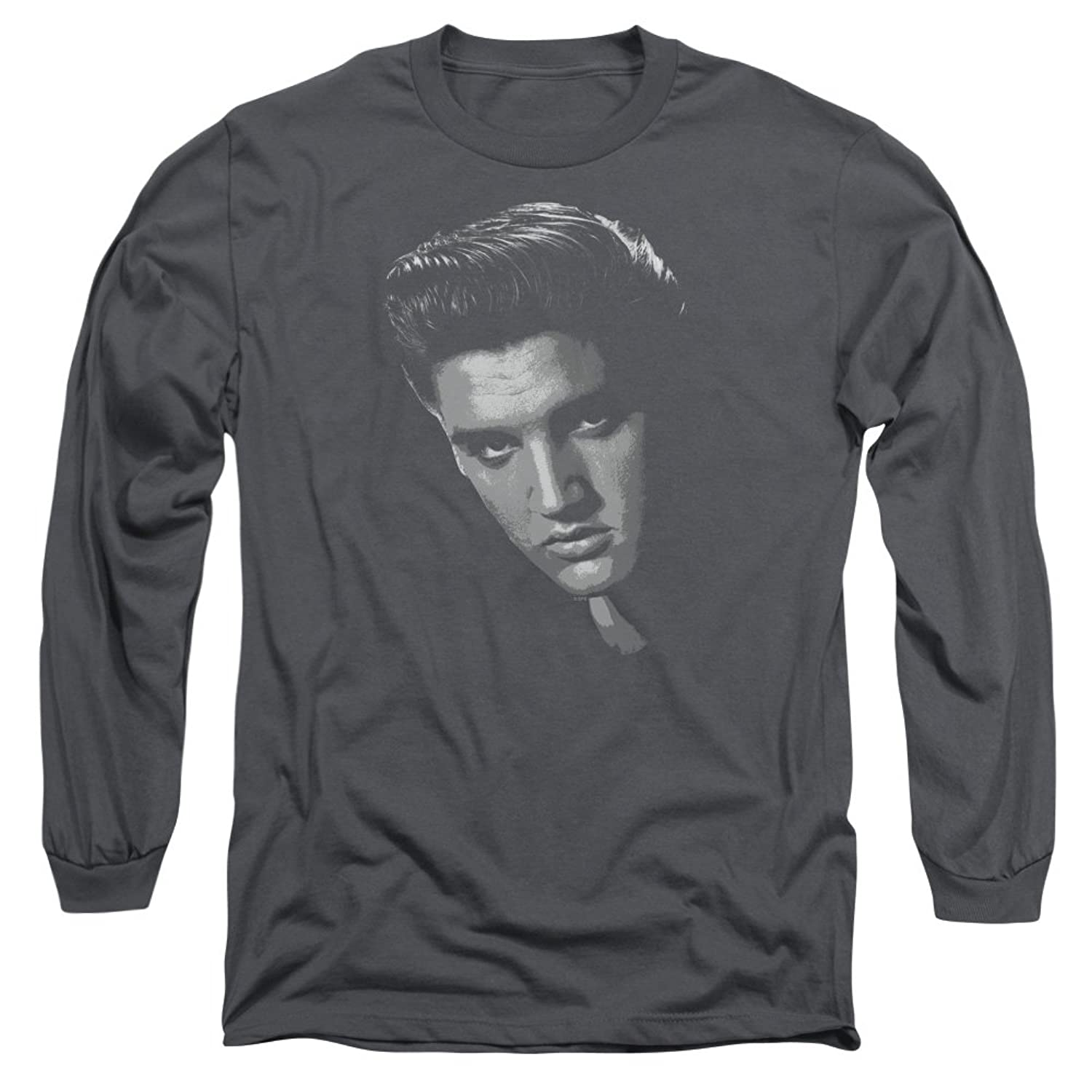 Elvis Presley King Of Rock Musical Classic B&W Portrait Adult L-Sleeve T-Shirt