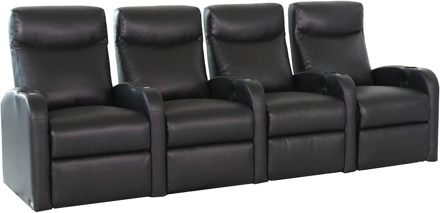Octane Seating Black Octane Pilot XS750 Bonded Home Theater Seating (Set of 4), Row of 4 Straight Row