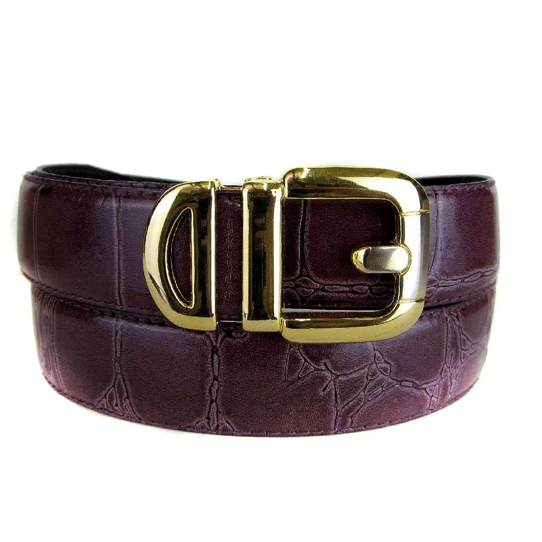 Red Bonded Alligator Skin High Quality Fashion Dress Belt