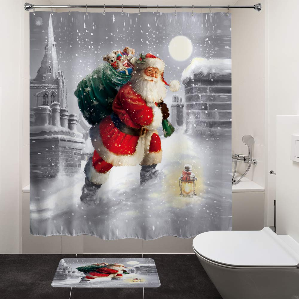HIYOO Home Indoors Christmas Decor Decorations Bathroom Polyester Fabric Waterproof Shower Curtain 150CM x 180CM Hooks Included 60 W x 72 H High-Definition Image - Aviator Santa Claus