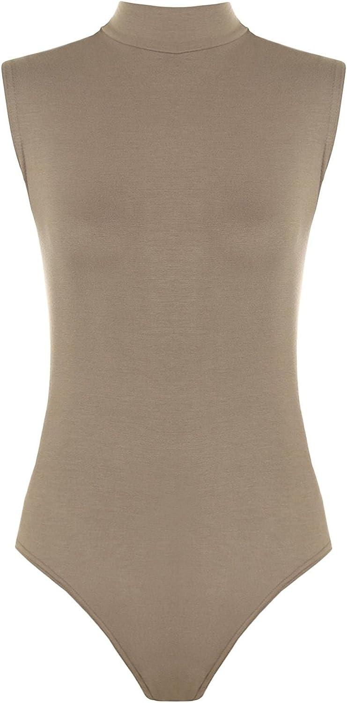 Red Olives Womens Ladies Plain Turtle Neck Bodysuit Sleeveless Stretch Leotard Top UK 8-14