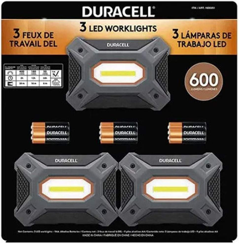 Lampara de trabajo LED Duracell 600 lúmenes 3 piezas