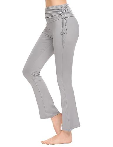 5dc7761bbf0a97 Lucyme Damen Sport Leggings hohe Taille Fitnesshose Yoga Hose mit  halbtransparenten Einsätzen: Amazon.de: Bekleidung