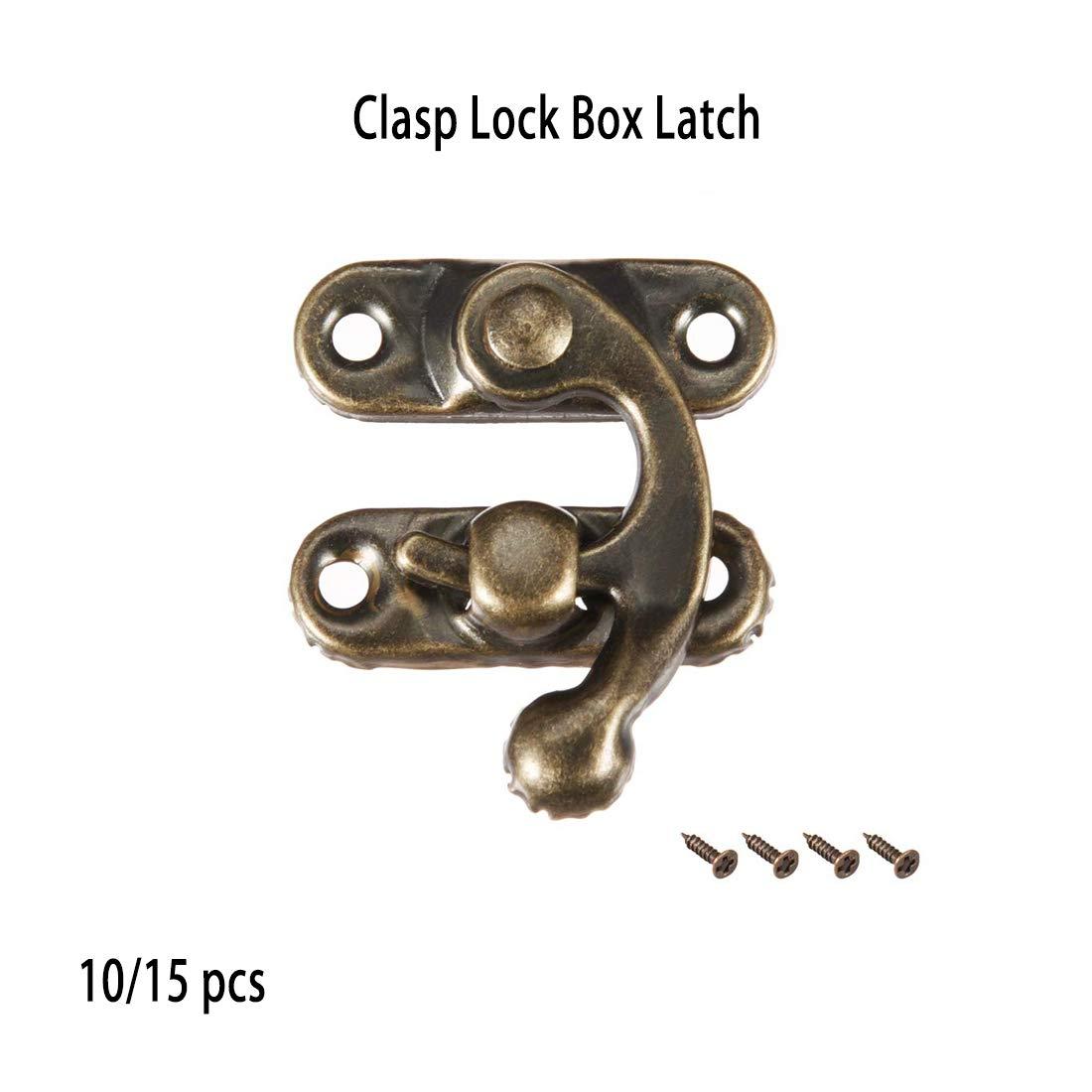 Cerrojo para armario de herramientas joyero Vogueing caja de madera antigua o cajas de regalo decoraci/ón con tornillos plateado