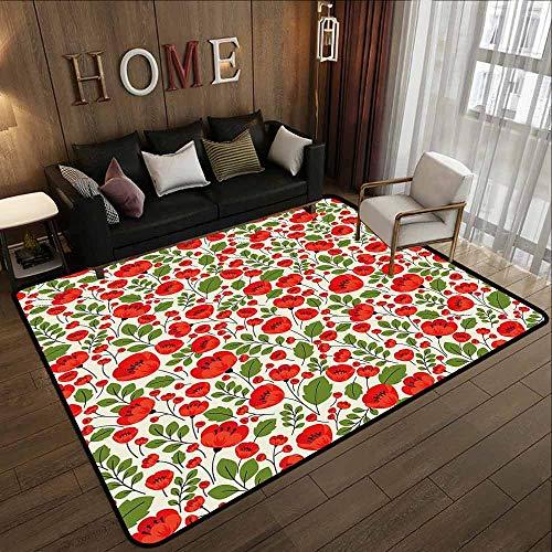 Large Area Rug,Poppy,Large Area mat,6'6