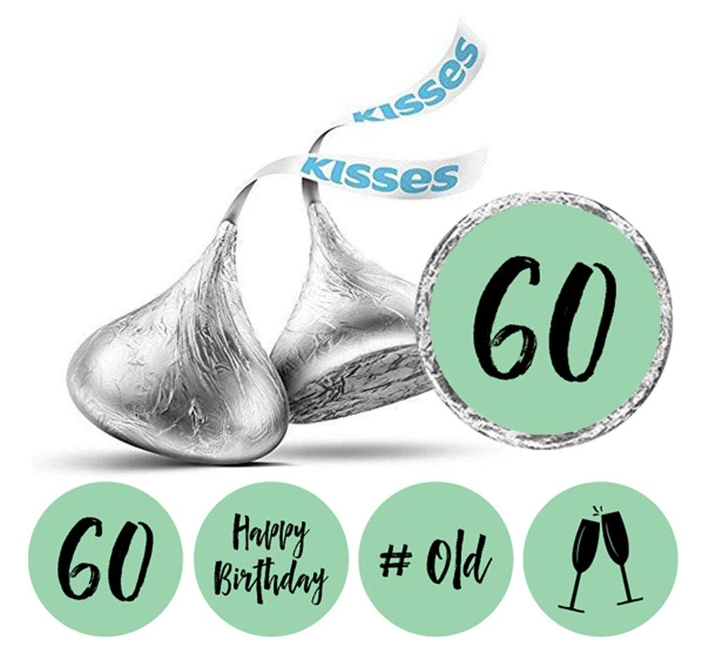 Darling Souvenir Hersheys Kisses Labels 60th Birthday Stickers Pack of 190 Pcs Party Favor-Black /& Glitter Gold