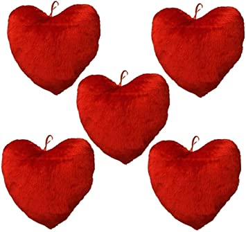 Jassi Toys Huggable Love Heart Shape Soft Plush Stuffed Cushion Pillow Toy in Red Color (Set of 5 )