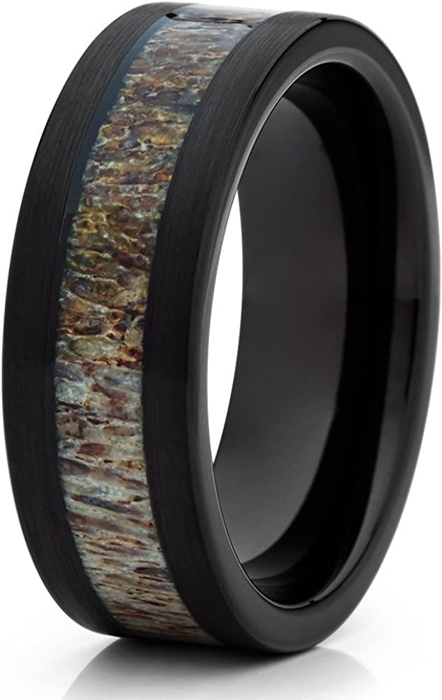 Silly Kings Deer Antler Wedding Band Men & Women Black Tungsten Wedding Band 8mm Tungsten Carbide Ring 61fiPAxN5LL