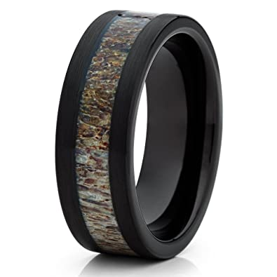 Amazoncom Silly Kings 8mm Black Tungsten Carbide Wedding Ring Deer