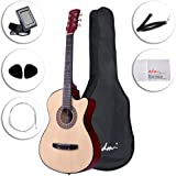 ADM 38 Inch Acoustic Guitar Cutaway 6 Steel Strings for Beginner, Natural Gloss