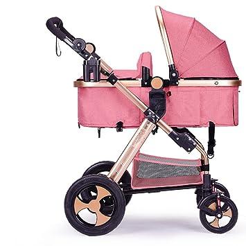 Puede estar acostado puede ser plegado carruajes de bebé, cochecito de bebé de alto perfil, coche de amortiguación, carro de bebé recién nacido (Color ...