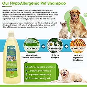 Hypoallergenic Dog and Cat Shampoo - All Natural with Aloe Vera, Chamomile & Rosemary for Sensitive and Young Skin - 17 oz