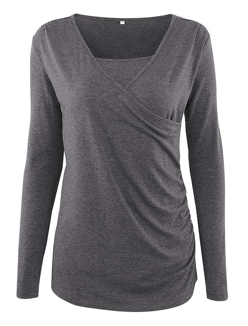 Ecavus Womens Ruched Side-Shirred Nursing Top Short Long Sleeve Breastfeeding Tee Shirt