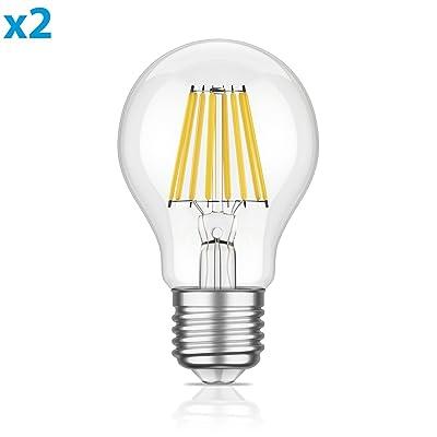 ledscom.de E27 LED Ampoule Filament A60 8W =65W Blanche-Chaude 850lm A++ pour l'intérieur et l'extérieur, 2 pcs