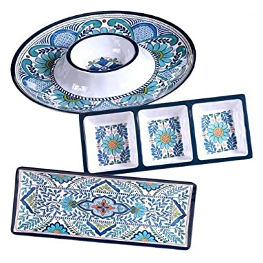 Certified International Talavera Multicolored Melamine 3-piece Hostess Serving Set, Floral Pattern, Durable, Dishwasher safe, Perfect for Indoor and Outdoor Use