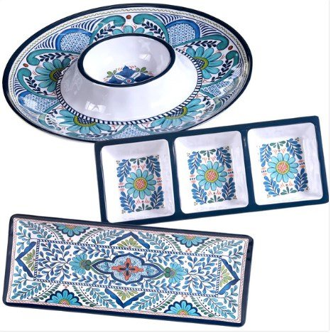 Certified International Talavera Multicolored Melamine 3-piece Hostess Serving Set, Floral Pattern, Durable, Dishwasher safe, Perfect for Indoor and Outdoor (3 Piece Hostess Set)
