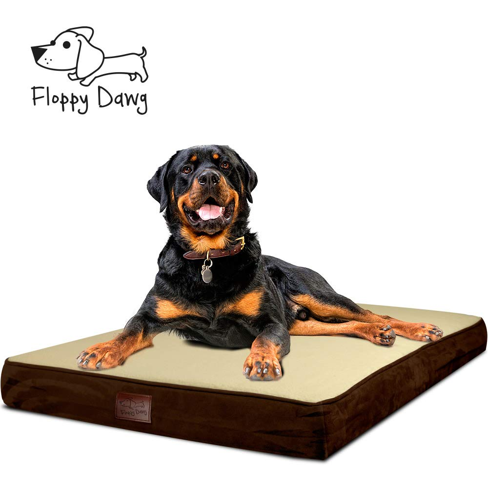 Floppy Dawg Large Orthopedic Memory Foam Dog Bed with Removable Cover and Waterproof Liner | 0.5 Inch Gel Memory Foam Top Layer to Wick Away Heat and 3.5 Inch Memory Foam Base Support for Aging Dogs