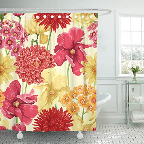 Emvency Shower Curtain Yellow Flower Floral in Watercolor Style Red Leaf Branch Waterproof Polyester Fabric 72 x 72 inches Set with Hooks (Plant With Red Leaves And Yellow Flowers)