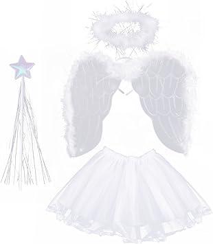 LUOEM Disfraz de Angel Niña 3-8 Años Alas de Angel Varita Mágica ...