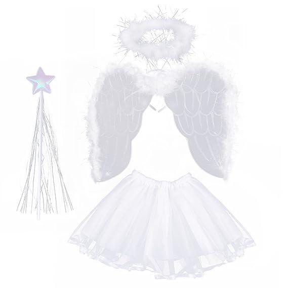 LUOEM Disfraz de Angel Niña 3-8 Años Alas de Angel Varita ...