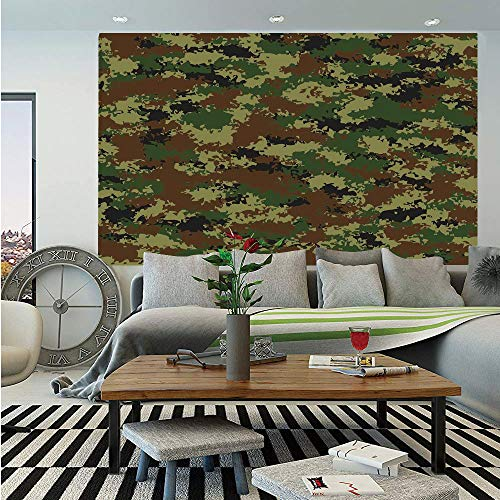 Camo Huge Photo Wall Mural,Grunge Graphic Camouflage Summer Theme Armed Forces Uniform Inspired Dark,Self-Adhesive Large Wallpaper for Home Decor 100x144 inches,Green Pale Green - Forces Armed Uniforms