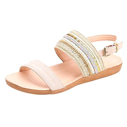 2fd508503bf Amazon.com  Boomboom 2018 Women Juniors Girls Bohemia Flip Flops Flat Sandals  Beach Gladiator Ankle Summer Shoes  Clothing
