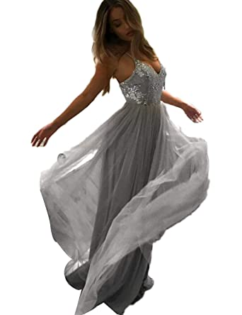 Grey Tulle Empire Dress