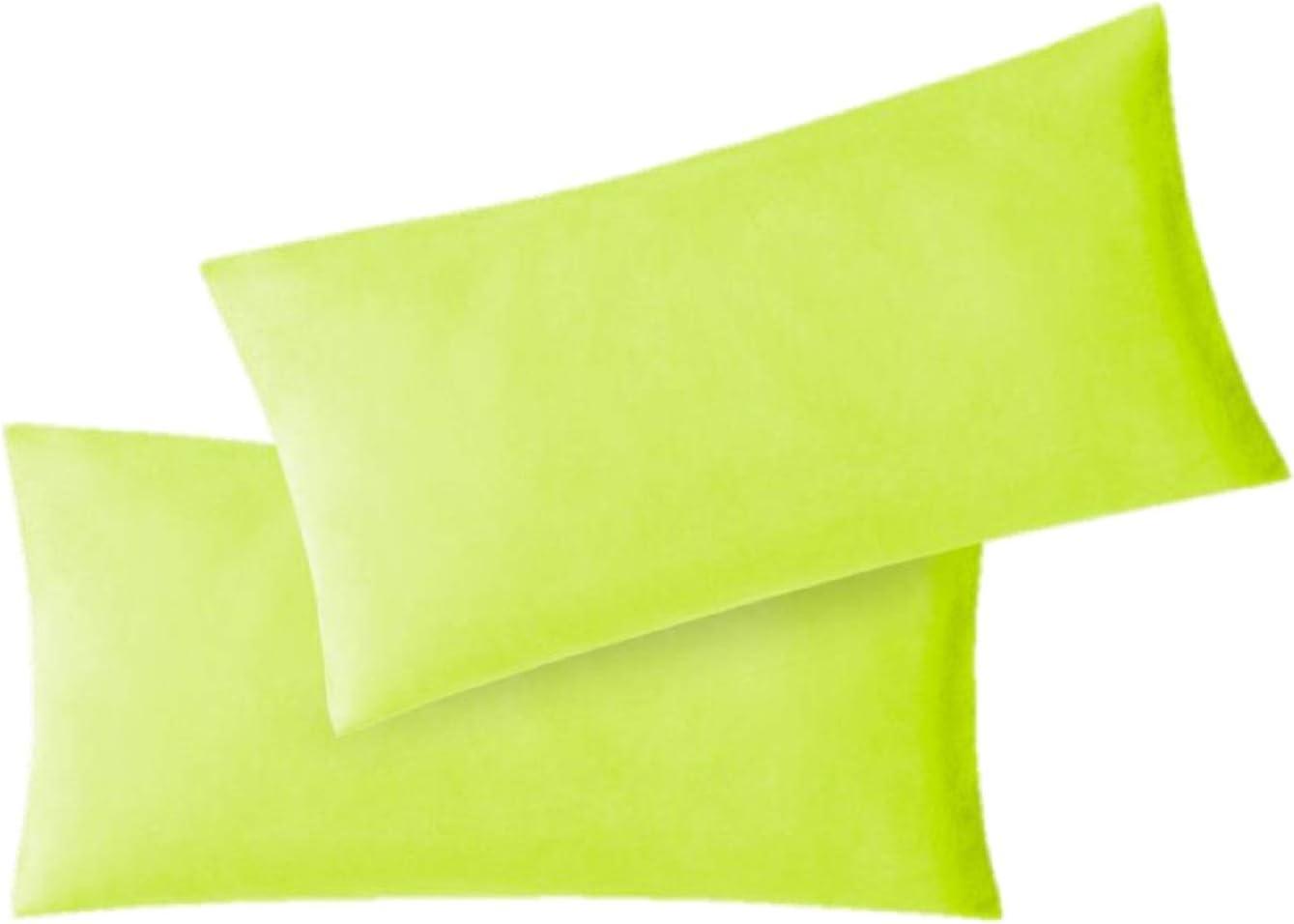 EXKLUSIV HEIMTEXTIL Fundas de Almohada de Jersey 2 Pack económico con Cremallera 40 x 80 cm Verde Manzana