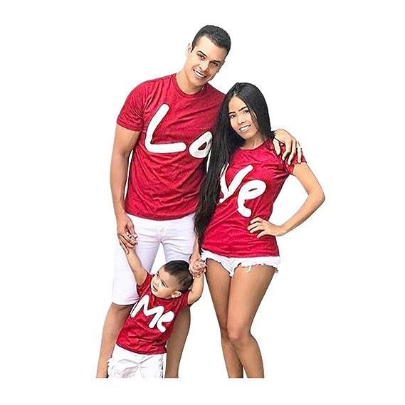 LUCKDE_Partnerlook Familie Vater und Sohn Tshirt Mutter und Tochter Kleidung Damenblusen Kurzarm Crop Top Sportshirts Funktio