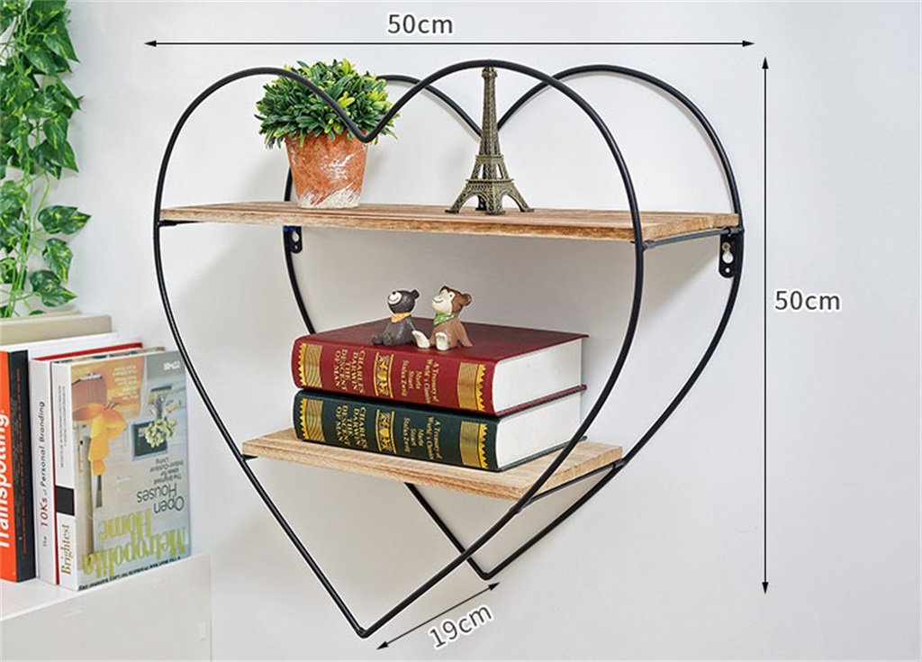 YD Shelf Wall Shelf Metal Iron Wood LOFT Wall Hanging Cube Shelf Bedroom Bookshelf Storage Rack Floating Unit Frame As Wall Decoration Design Vintage Industrial Style 2 Tiers @ by YD Shelf (Image #2)
