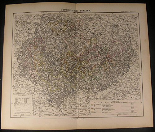 Thuringia Federal State Central Germany 1886 Antique Color Lithograph Map