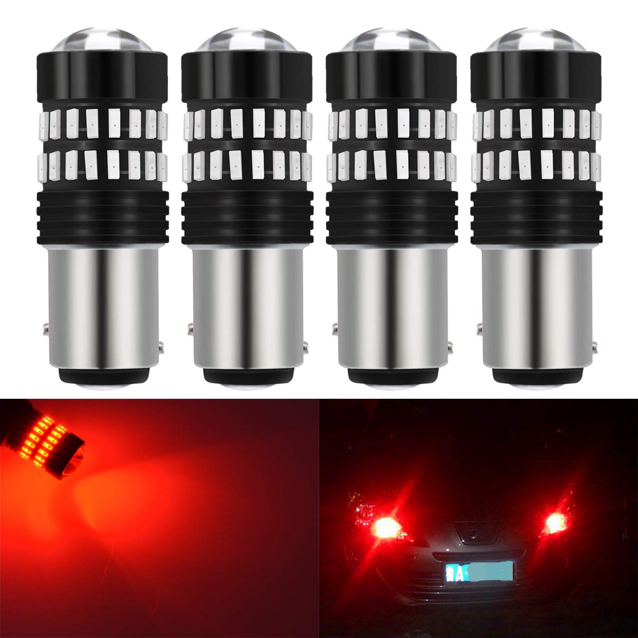 KaTur Extremely Bright 1200LM 4014SMD 48-EX Chipsets 3157 3156 3057 4157 3155 LED Bulbs with Lens Projector Brake Turn Signal Tail Backup Reverse Lights, Brilliant Red DC 12-24V (Pack of 4)