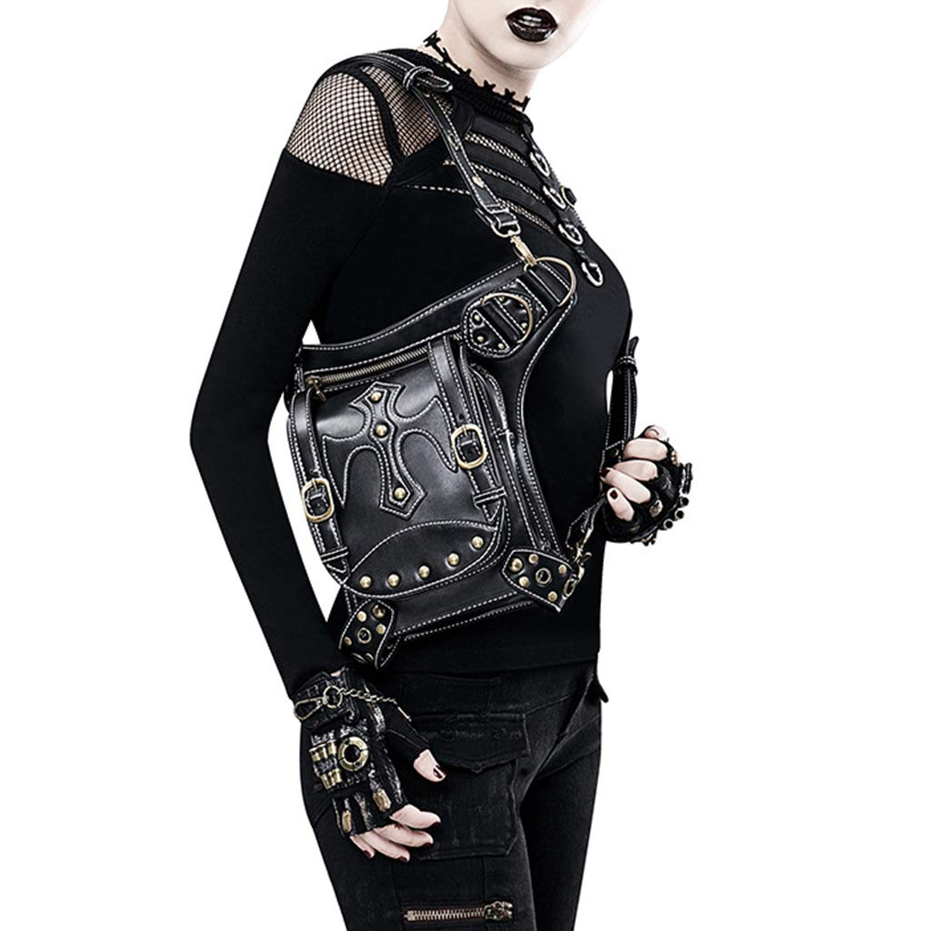 Fityle Retro Messenger Bag Gothic Steampunk Cross Rivets Waist Bag Motorcycle Cyberpunk Rider Bag